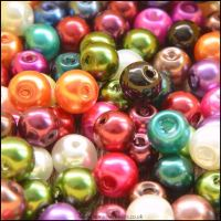 6mm Multi Coloured Glass Pearl Beads