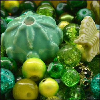 Green Bead Mix - 100g