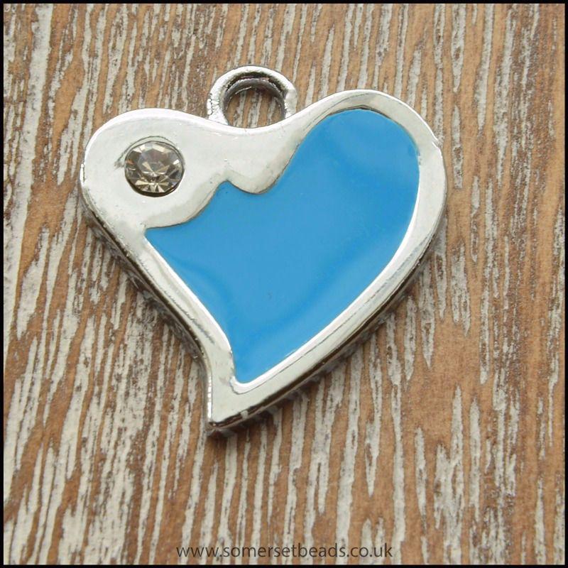 Blue enamel fluted heart charm