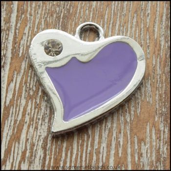 Purple Fluted Heart Enamel Charm