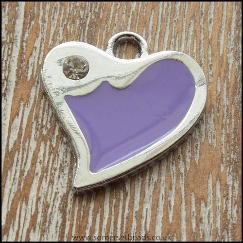 Purple Fluted Heart Enamel Charm