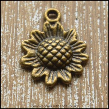 Bronze Tone Sunflower Charms