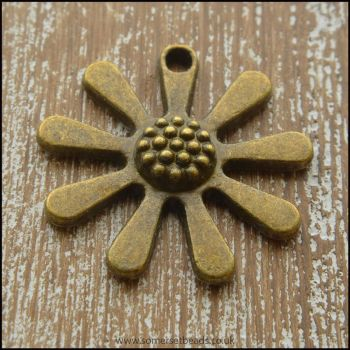 Bronze Tone Large Flower Charm