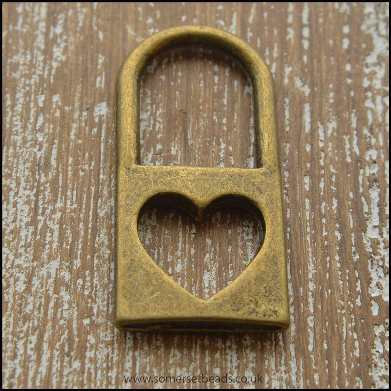 Bronze Tone Heart Padlock Charm
