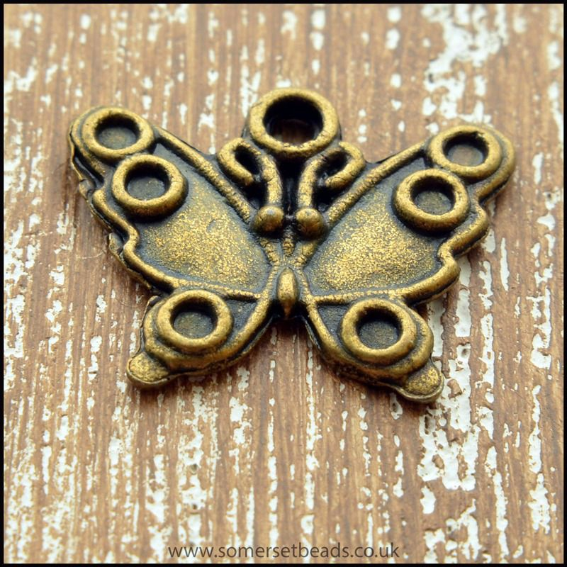 Antique Bronze Tone Butterfly Charms