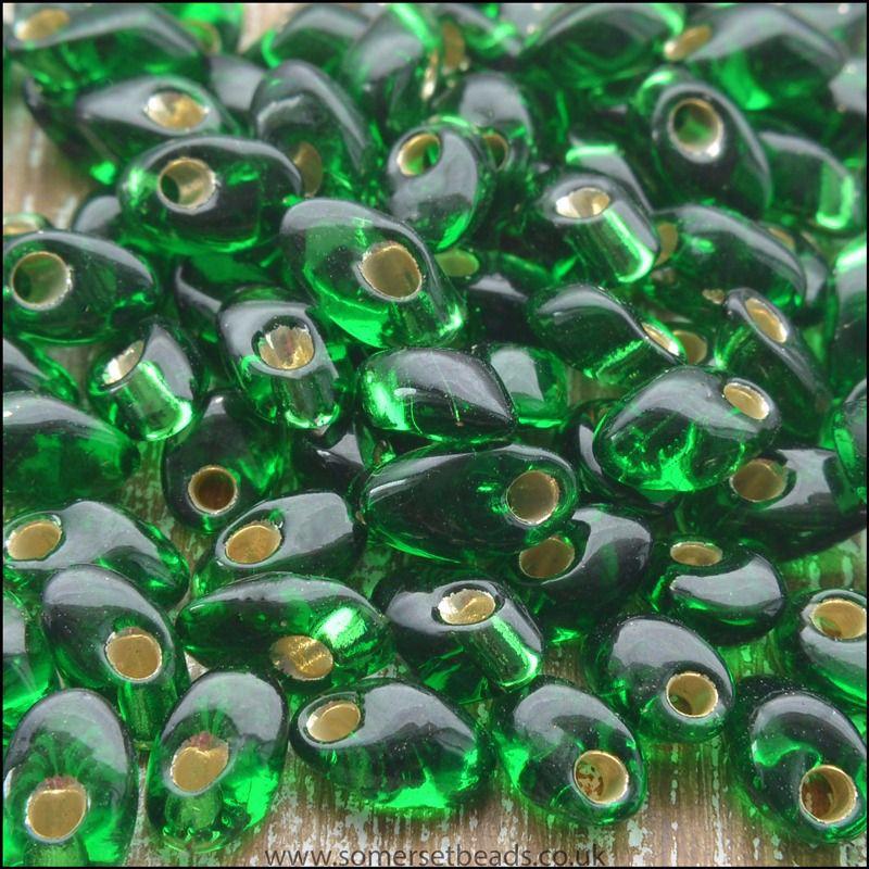 Miyuki Long Magatamas Green Tr Silver Lined - LMA 0016B