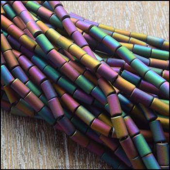 Rainbow Hematite Matte Tube Beads 5mm x 3mm