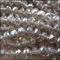 Electroplated Clear Faceted Glass Crystal Rondelle Beads 6mm x 4mm