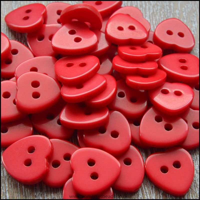 11mm Red Resin Heart Shaped Buttons
