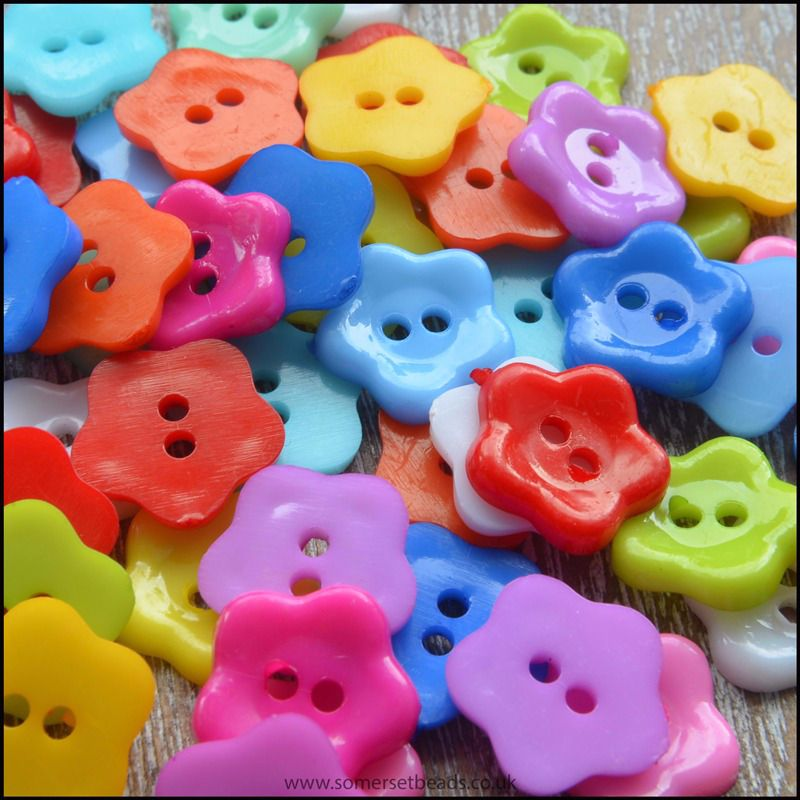 11mm Resin 2 Hole Flat Flower Buttons in Mixed Colours