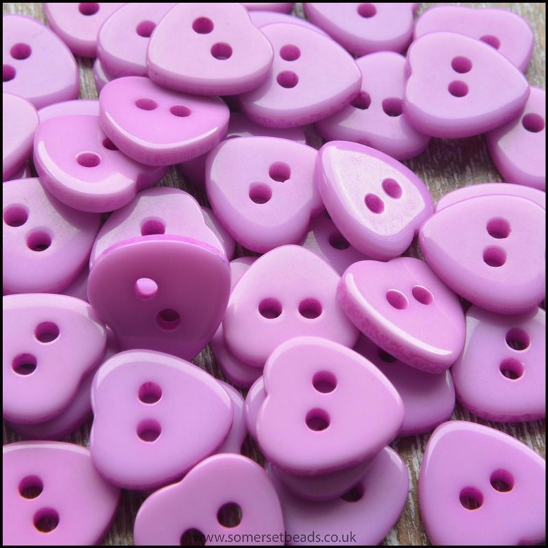 11mm Lilac Resin Heart Shaped Buttons