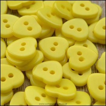 11mm Yellow Resin Heart Shaped Buttons