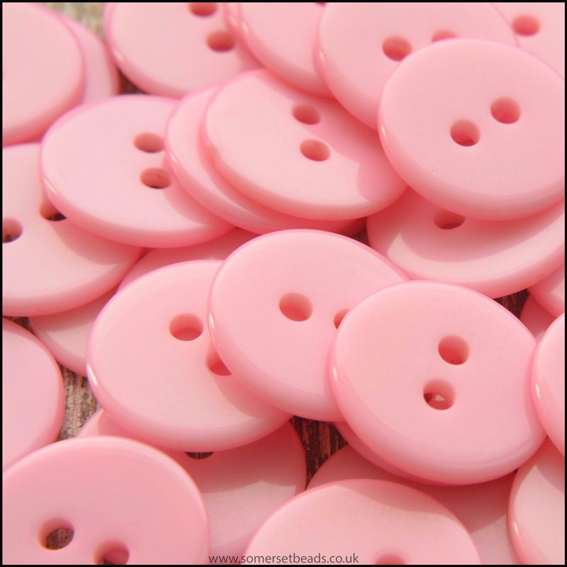 15mm Pale Pink Resin Buttons