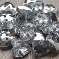 12mm Acrylic Heart Shaped Buttons With Silver Plated Back