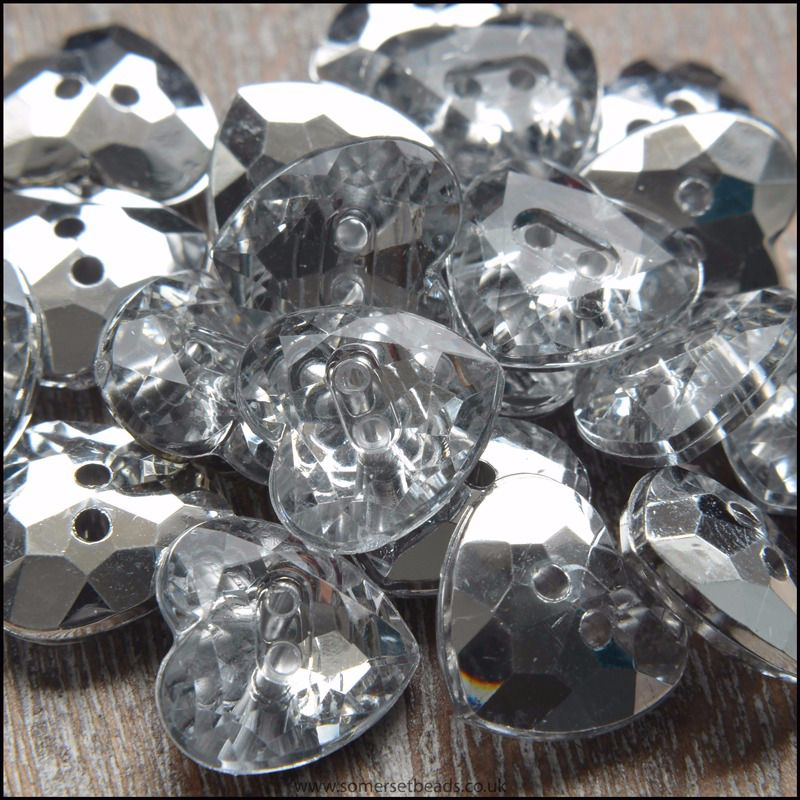 12mm Clear Acrylic Heart Buttons With Silver Plated Back