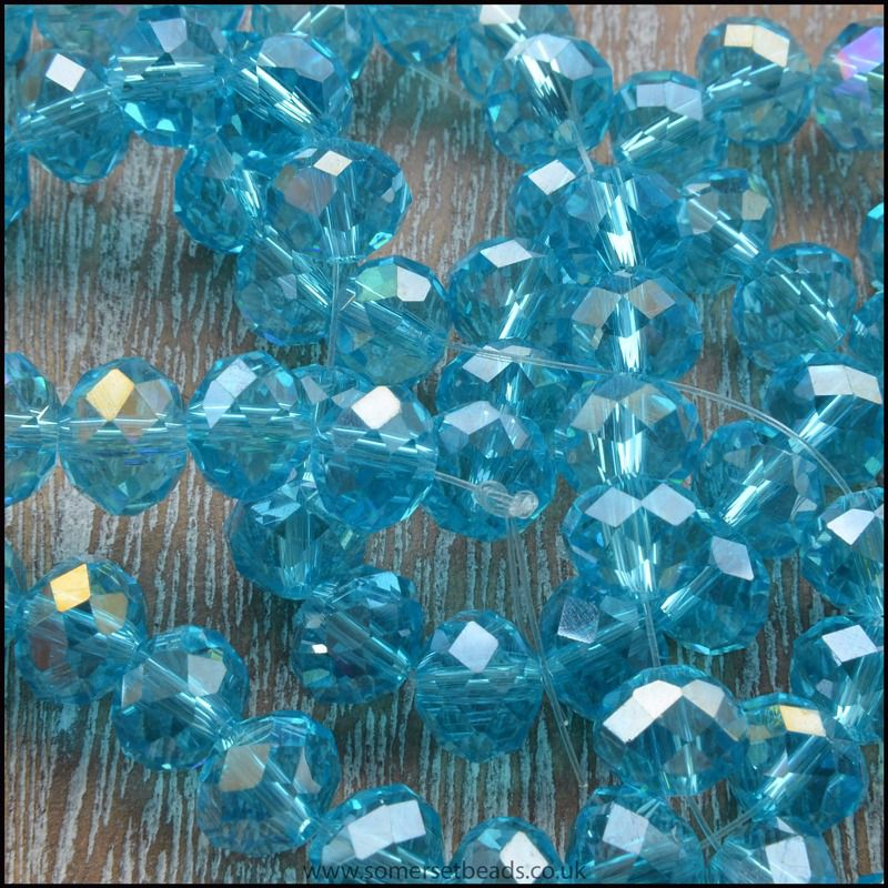 Blue Glass Crystal Rondelles 8mm x 6mm