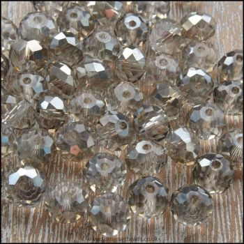Grey Glass Crystal Rondelles 8mm x 6mm