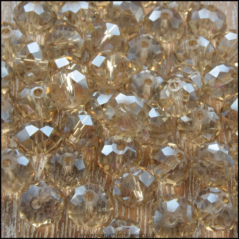 Black Diamond Faceted Crystal Glass Rondelle Beads 8mm x 6mm