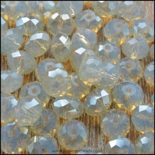 Sand Opal Faceted Glass Crystal Rondelle 8mm x 6mm