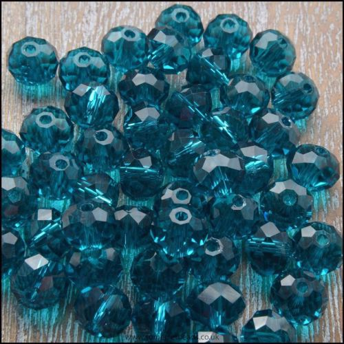 Teal Glass Crystal Rondelles 8mm x 6mm
