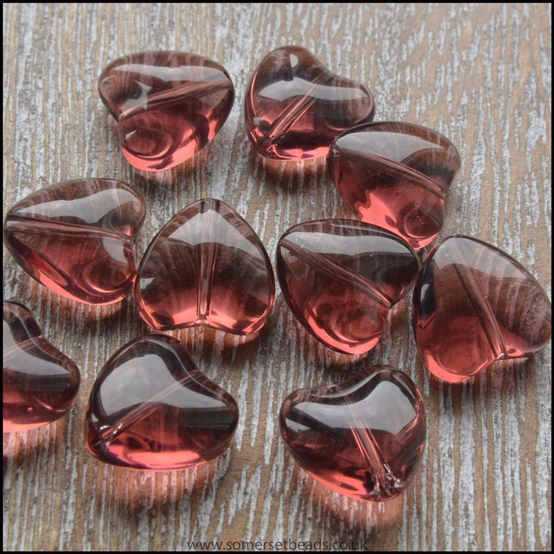 10mm Purple Glass Hearts