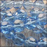 10mm Cornflower Blue Faceted Round Glass Beads