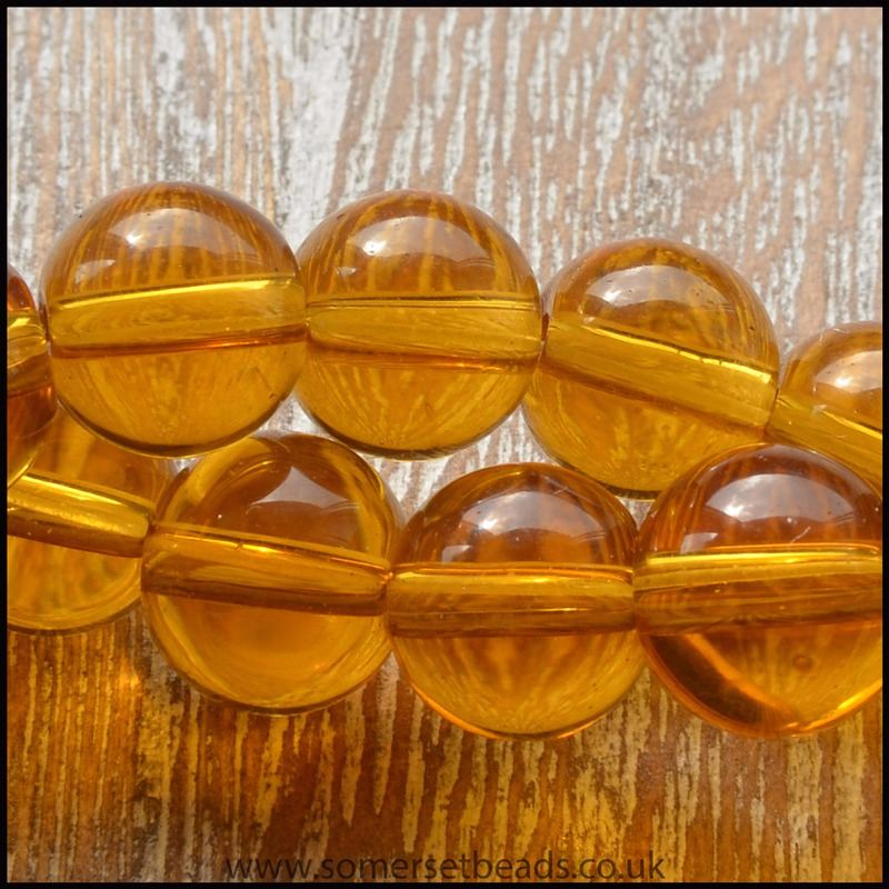 8mm Goldenrod Plain Round Glass Beads