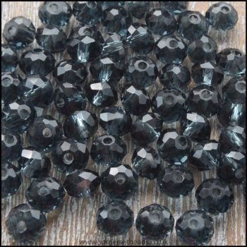Steel Blue Glass Crystal Rondelles 8mm x 6mm