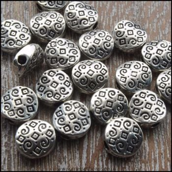 Antique Silver Flat Round patterned Spacer Beads