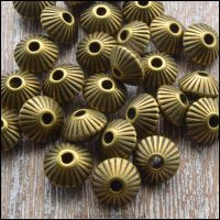 8mm Bronze Fluted Saucer Spacer Beads