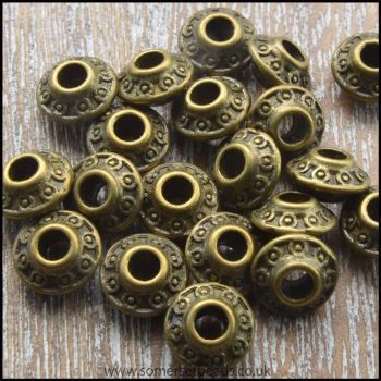 Antique Bronze Patterned 6.5mm Saucer Spacer Beads