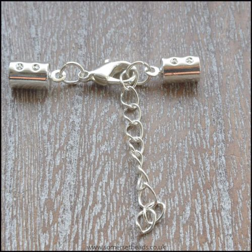 Silver Tone Cord End Clasps