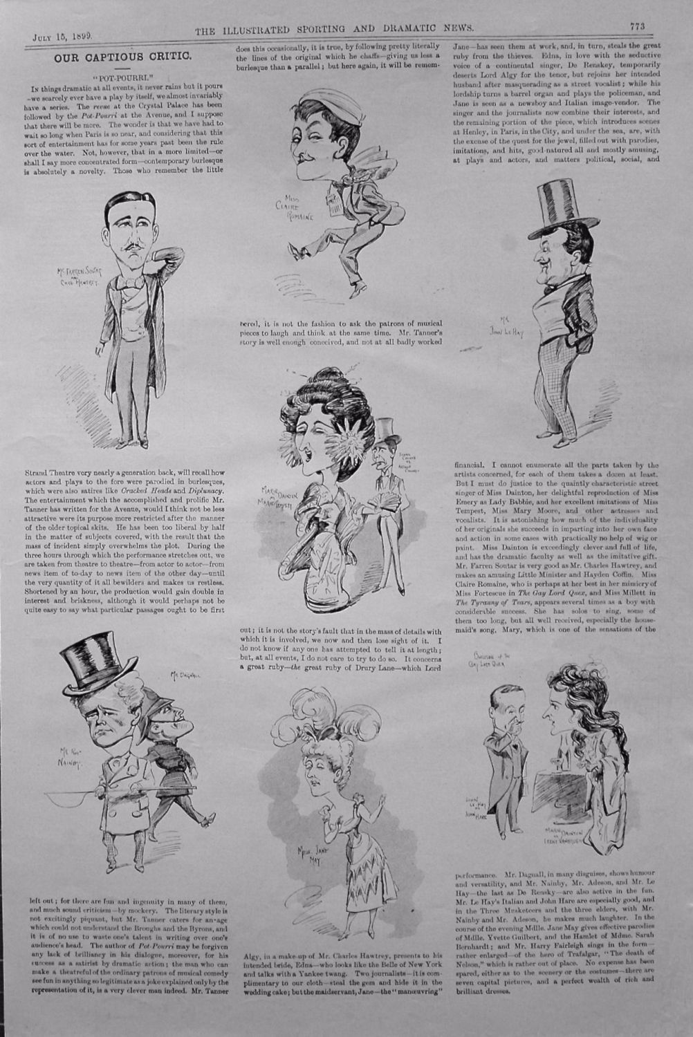 Our Captious Critic. July 15th 1899