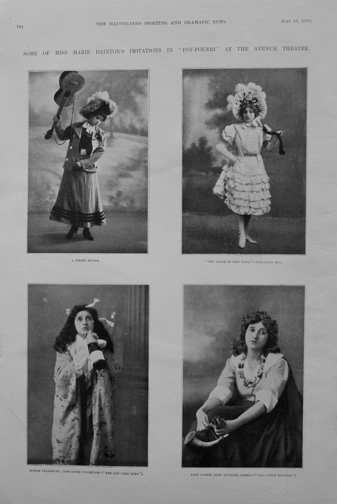 "Some of Miss Marie Dainton's Imitations in ""Pot-Pourri"" at the Avenue Theatre. 1899"