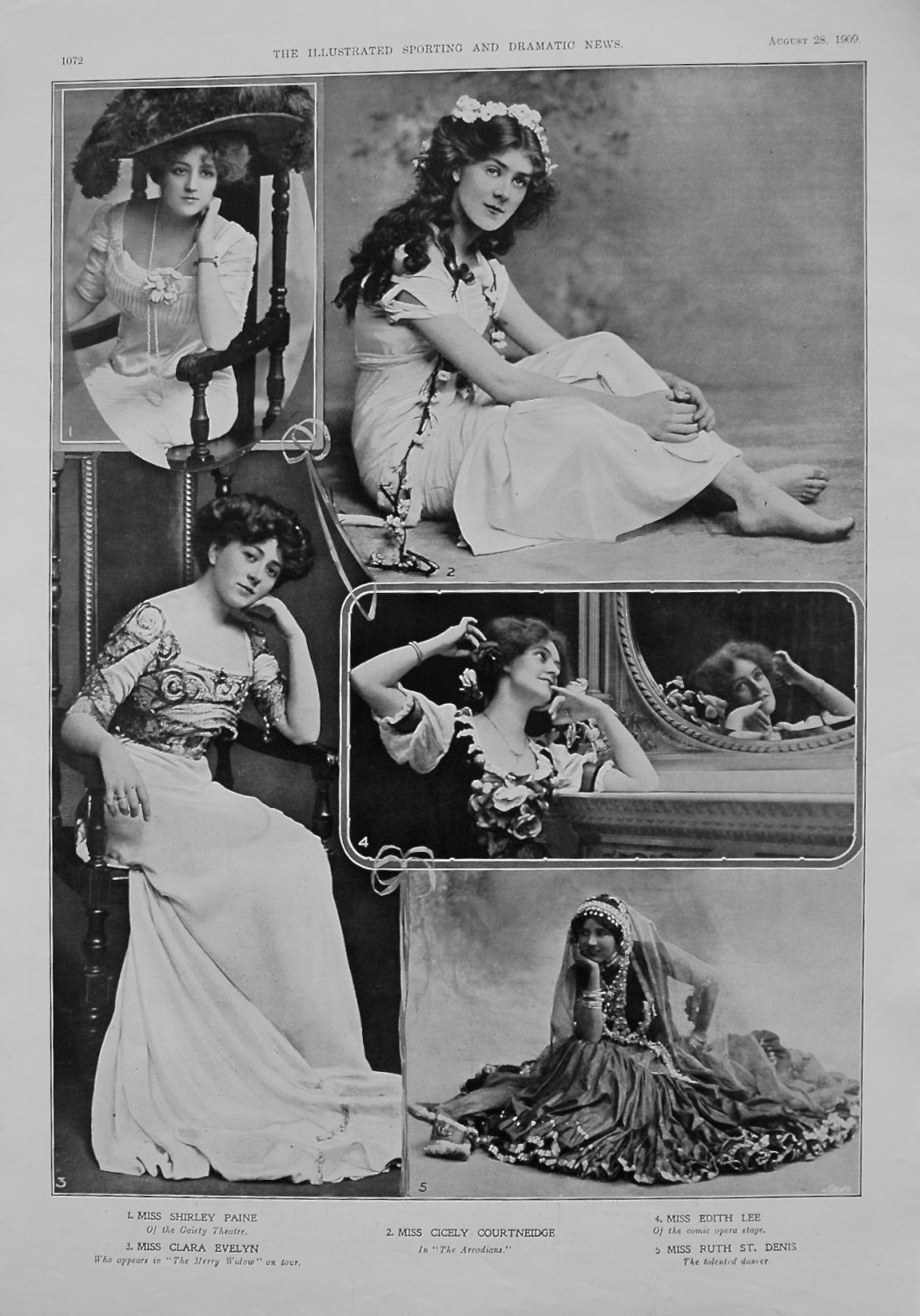 Actresses from the Stage. August 28th 1909.