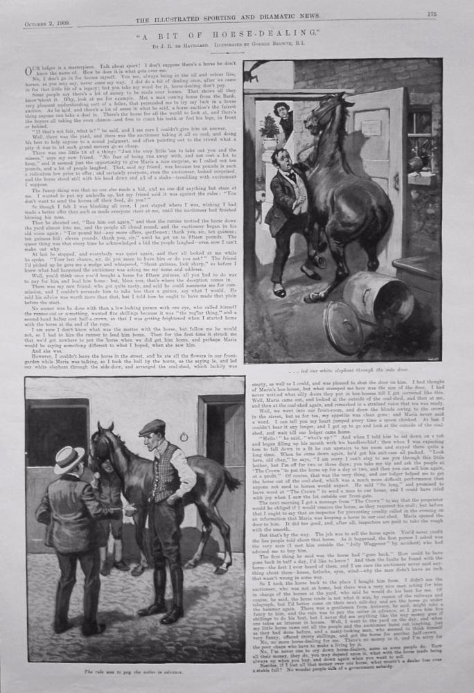 """""""A Bit of Horse-Dealing."""" Written by J.R. de Havilland. 1909"""