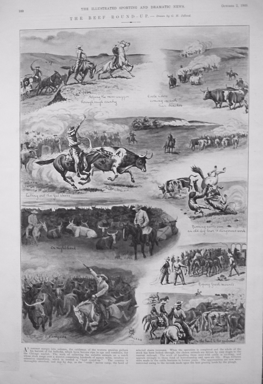 The Beef Round-Up. - Drawn by J.H. Jalland. 1909
