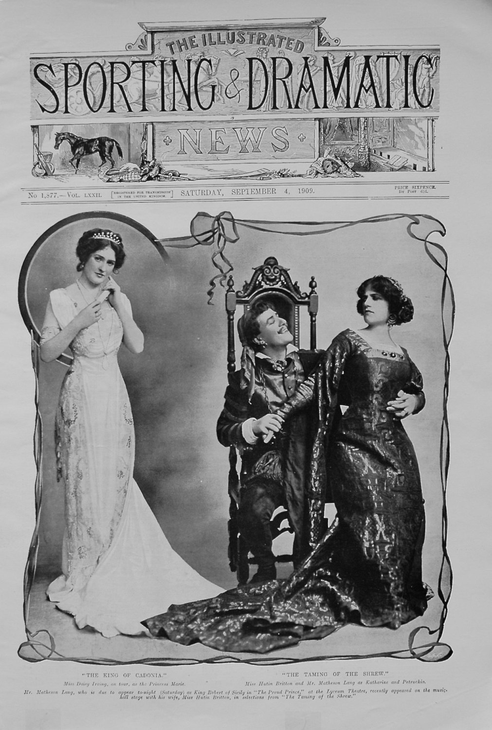 Miss Daisy Irving, on tour , as the Princess Marie. Miss Hutin Britton and