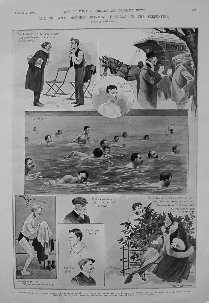 Christmas Morning Swimming Handicap in the Serpentine. 1909