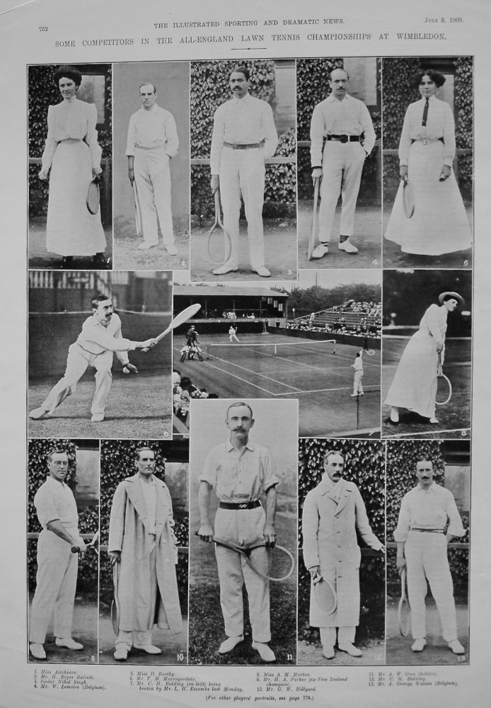 Some Competitors in the All-England Lawn Tennis Championships at Wimbledon. 1909