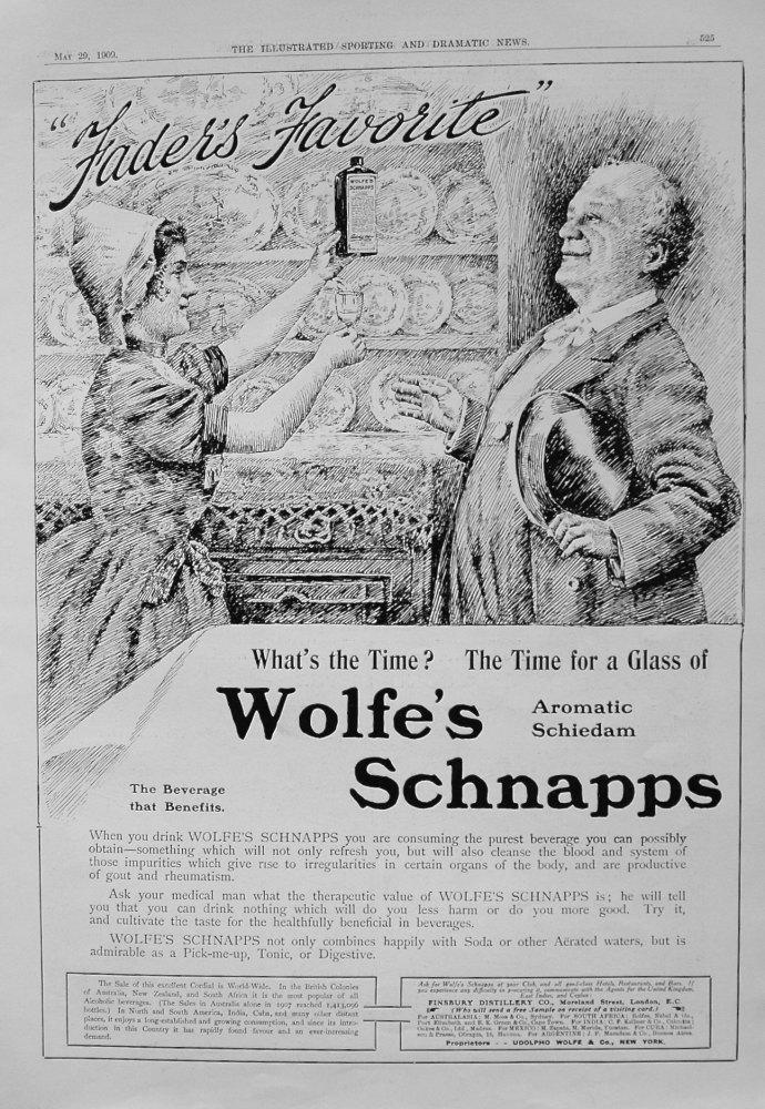 Wolfe's Schnapps. 1909