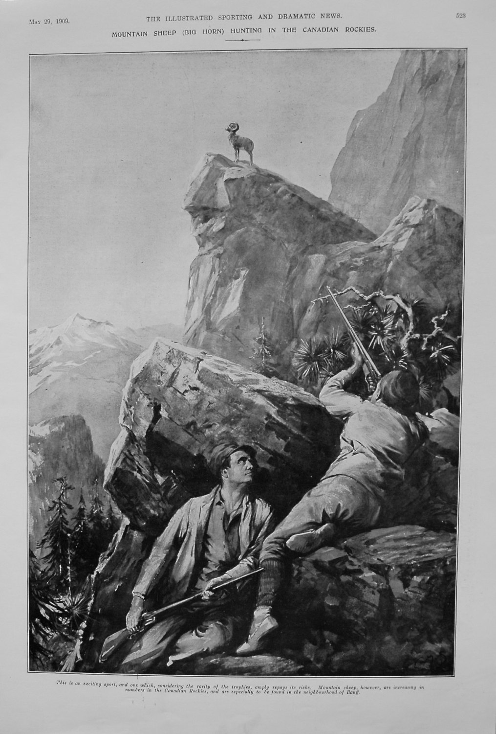Mountain Sheep (Big Horn) Hunting in the Canadian Rockies. 1909