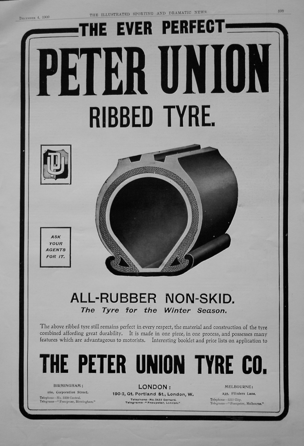 Peter Union Ribbed Tyre. 1909