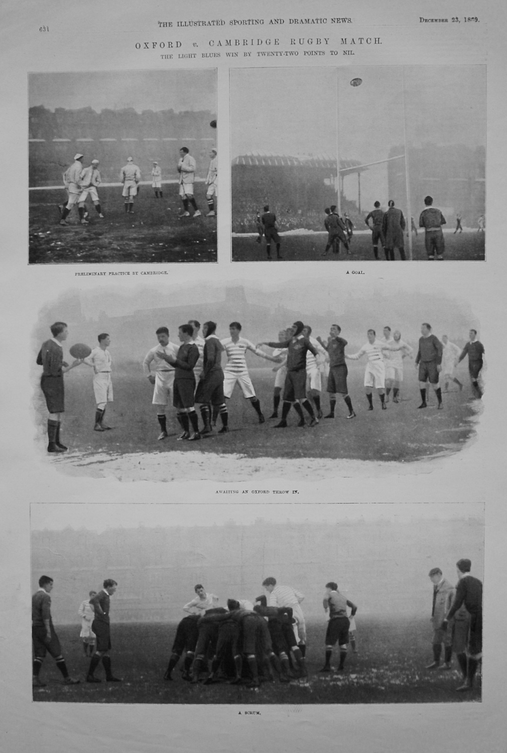 Oxford v. Cambridge Rugby Match. 1899