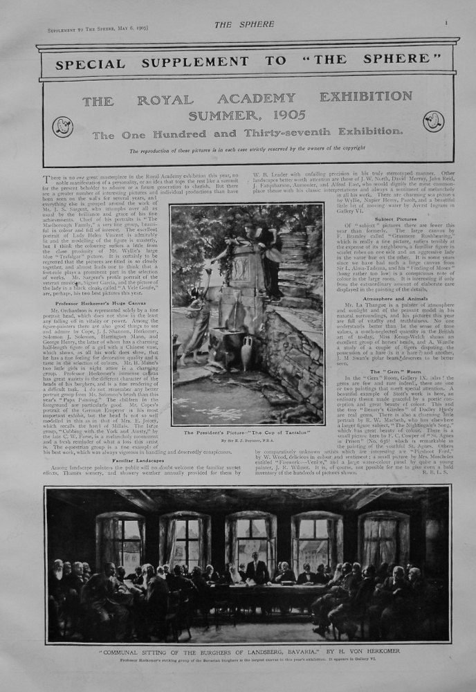 The Sphere, May 6th, 1905,.  (Supplement) : The Royal Academy Exhibition, Summer 1905.