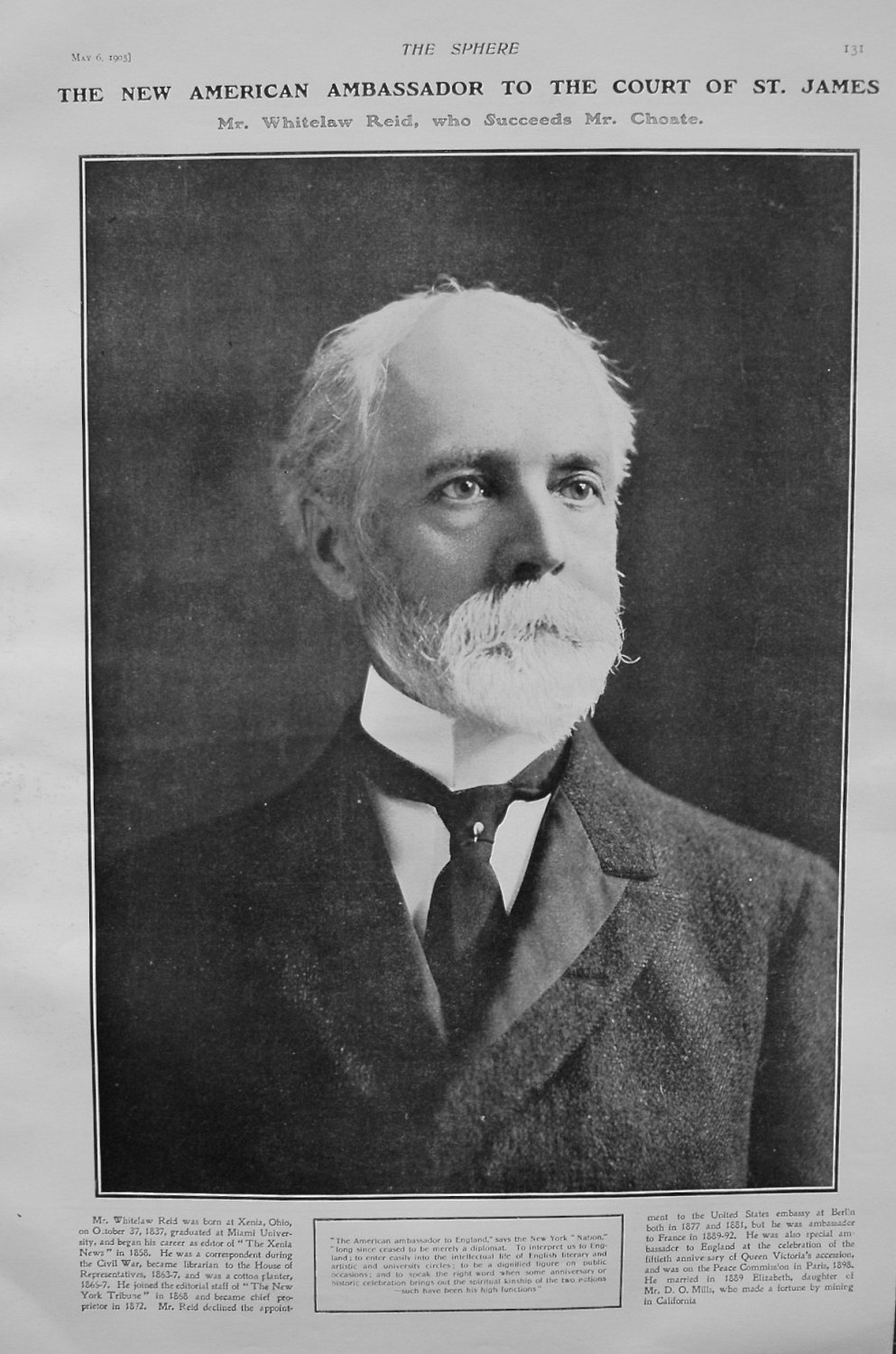 The New American Ambassador to the Court of St. James. Mr. Whitelaw Reid, w