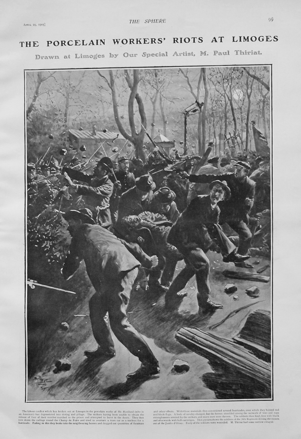 The Porcelain Workers' Riots at Limoges. 1905.