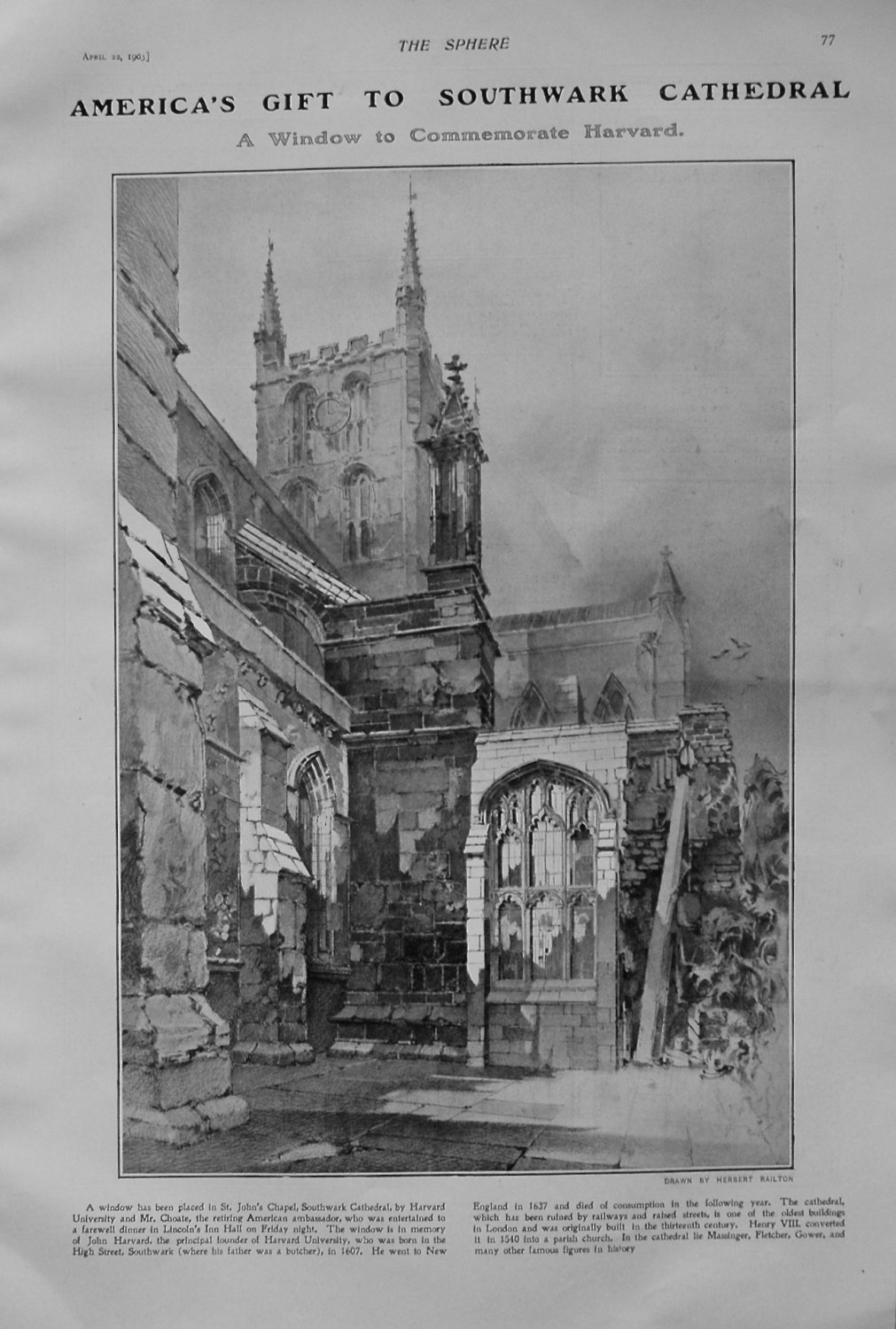 America's Gift to Southwark Cathedral. 1905