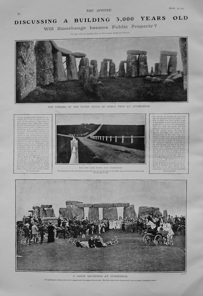 Discussing a Building 3,000 Years Old. : Will Stonehenge become Public Property ? 1905