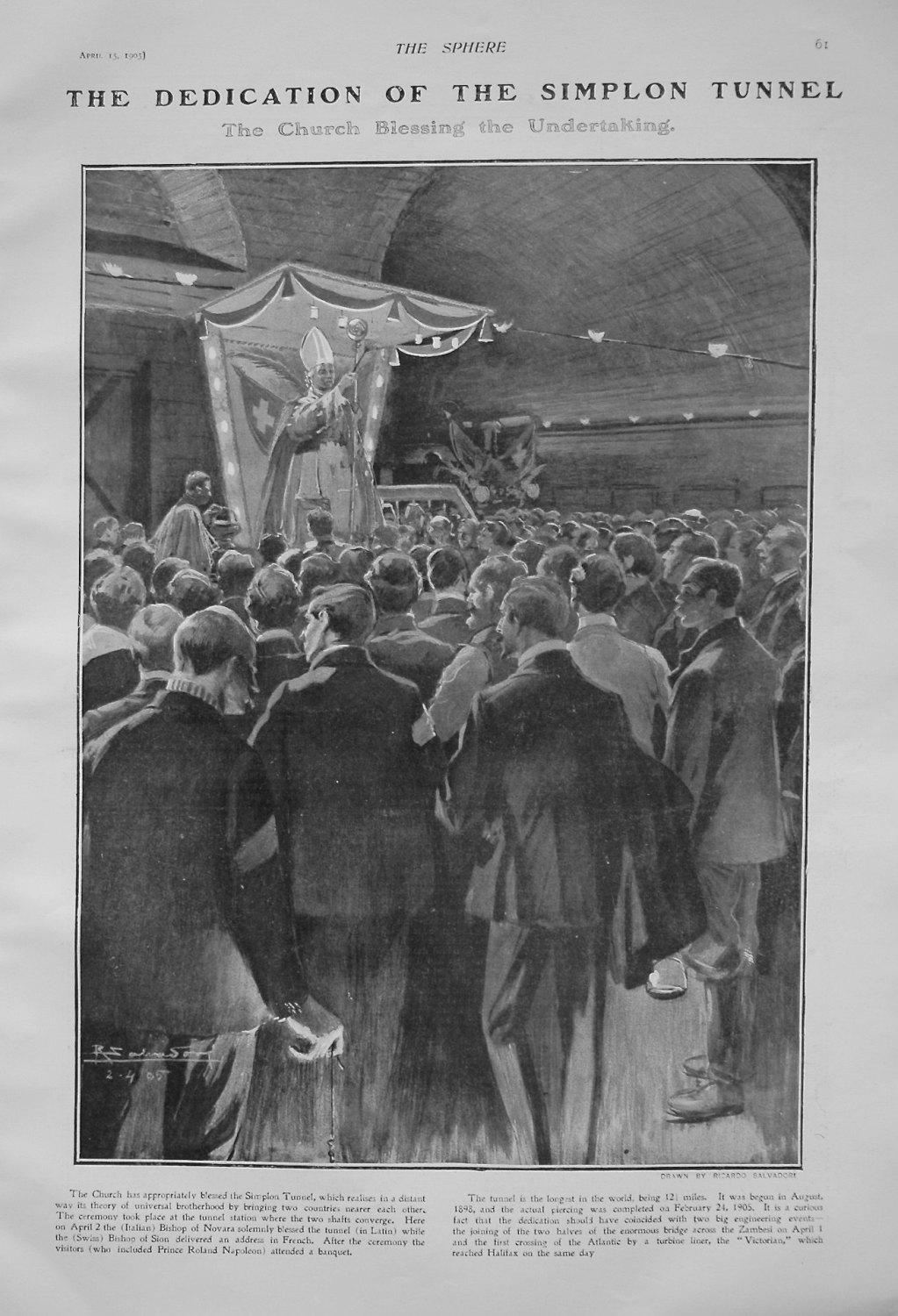 The Dedication of the Simplon Tunnel : The Church Blessing the Undertaking.